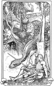 "H.J. Ford, ""Arthur and the Questing Beast"". From King Arthur, Tales of the Round Table, Andrew Lang, 1904."